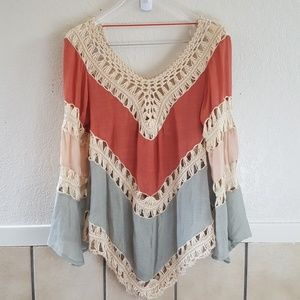 Umgee USA knit and cotton blend boho top Size Med
